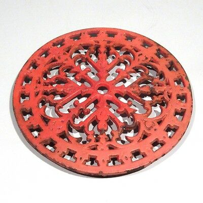 Vintage French Enamel Cast Iron Trivet, Red, Rose Window