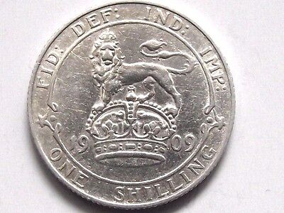 A Superb 1909 Edward Vii Silver Shilling High Grade
