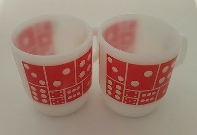 2X Vintage Fireking Red Dice Mug C Handle Coffee Tea Anchor Hocking Milk Glass