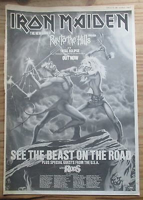 """Iron Maiden """"Run To The Hills"""" 1982 Poster Size Advert (16 x 12"""")"""