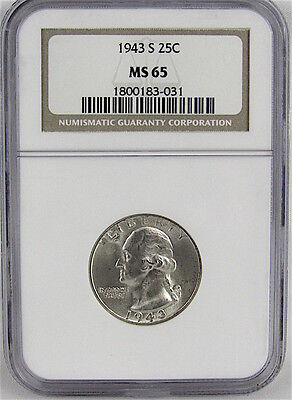 1943-S Washington Quarter Ngc Ms65