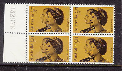 AUSTRALIA 1970 5c Royal Visit with Sheet Number  Block of 4 Mint Never Hinged