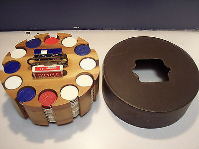 Vintage Poker  Set Wooden Caddy Carousel with Chips, Cards and Cover.