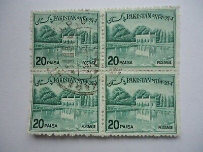 Pakistan 1962-70 SG176b 20p Myrtle Green Block of 4 Used