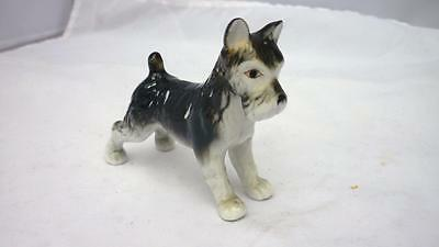 Fox Terrier Porcelain Wire Haired Vintage Figurine with red edge eyes