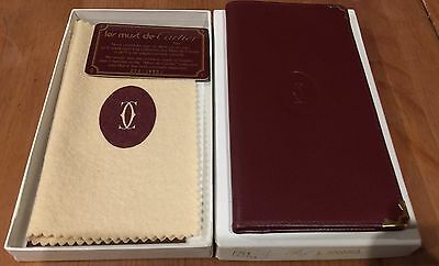 Auth Cartier Vintage Must de Long Bifold Wallet Bordeaux Leather