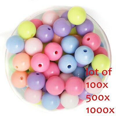 1000 Pcs Mixed Color Acrylic Plastic Smooth Round Ball Loose Spacer Beads 8mm US