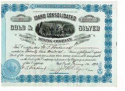 Idaho Consolidated Gold & Silver Mining Co., New York 1893, TOP, uncancelled