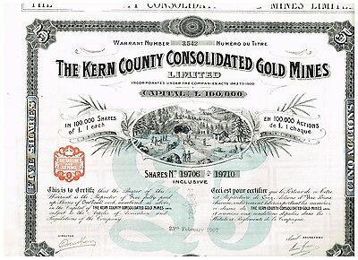The Kern County Cons. Gold Mines Ltd., 1907, uncancelled/ coupons