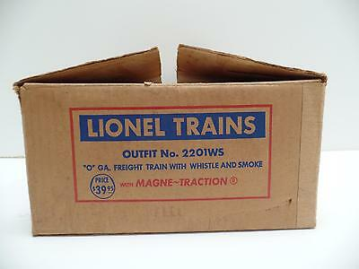 """Empty Lionel Freight Train Cardboard Box Outfit 2201WS Whistle Smoke 14.75""""Vtg"""