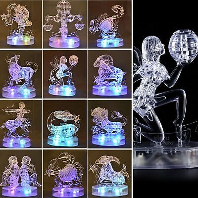 3D Crystal Puzzle Jigsaw 12 Constellations Zodiac Sign LED DIY Model Blocks New