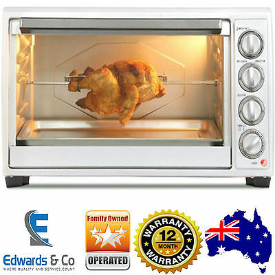 Convection Oven Electric Bench Top Silver 45L Rotisserie Grill Functions 2000W