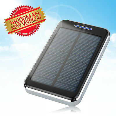 16000mAh Portable Solar Panel Charger Dual USB Battery Power Bank for iPhone 6s