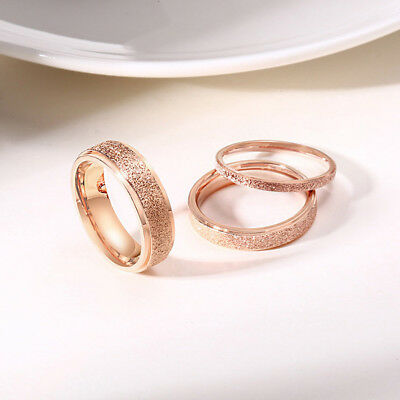 2/4/6mm Rose Gold Frosted Titanium Steel Wedding Band Ring Men/Women's Size 3-13