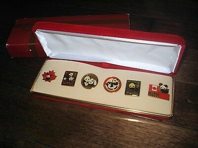 RARE 1980's Set of 6 Vintage Panda Bear lapel pins with original velvet case