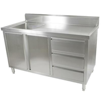 Kitchen Cabinet with Sink, Single Left Bowl, Stainless Steel, 1500x700x900mm