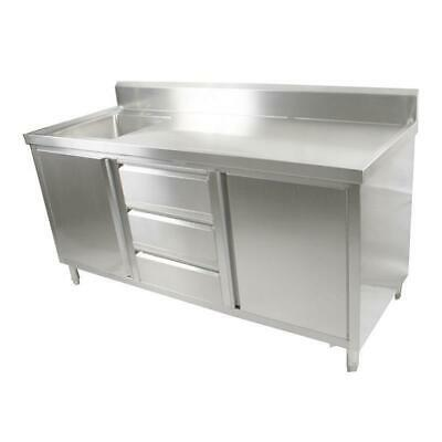 Kitchen Cabinet with Sink, Single Left Bowl, Stainless Steel, 1800x700x900mm