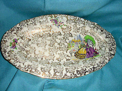 Vintage/Collectable Nelson Ware Mauve Crinoline Lady Oval Sandwich Tray