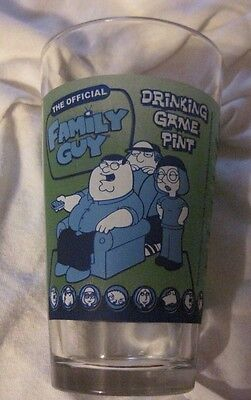 "Family Guy Official Drinking Game Pint Glass - 5.75"" / Green & Blue"