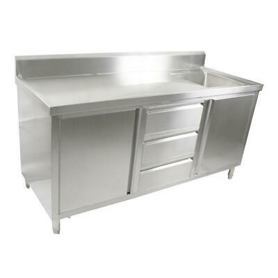 Kitchen Cabinet with Sink, Single Right Bowl, Stainless Steel, 1800x700x900mm