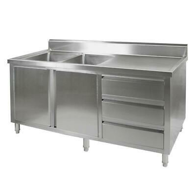 Kitchen Cabinet with Sink, Double Left Bowl, Stainless Steel, 2100x700x900mm