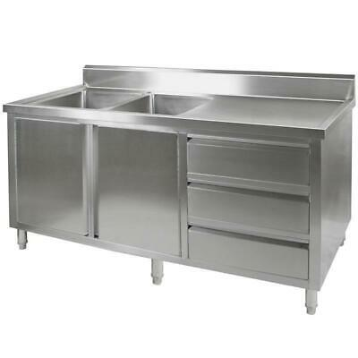 Kitchen Cabinet with Sink, Double Left Bowl, Stainless Steel, 2400x700x900mm