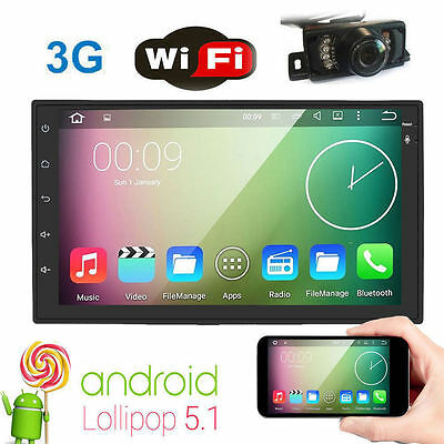 Quad-Core Android 5.1 7'' 2Din Video Autoradio Car Stereo GPS Navigation+Camera