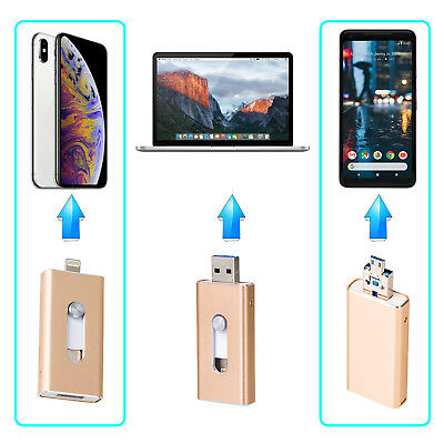 3in 1 32GB 64GB I-Flash Drive Storage USB Memory Stick For Android/IOS iPhone