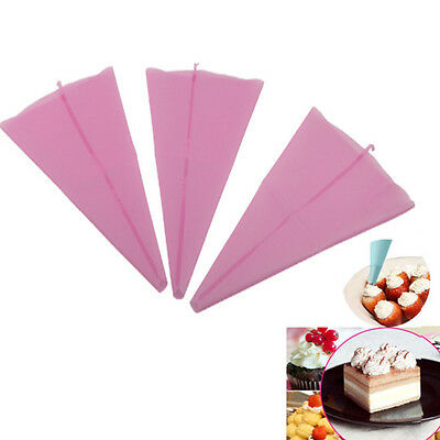 3Size Silicone Reusable Icing Piping Cream Pastry Bags DIY Cake Decor Tools NEW