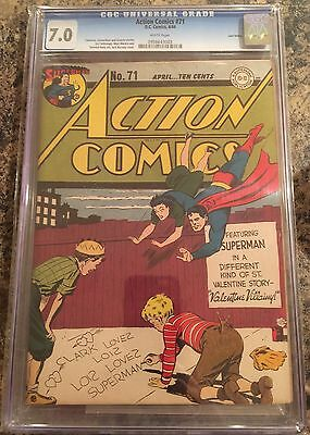 ACTION COMICS #71 CGC 7.0 white pages Lost Valley Collection superman
