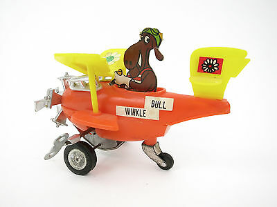 """Vintage ROCKY & BULLWINKLE 1970's Wind Up Toy Airplane 7"""" Plane Moose RARE"""