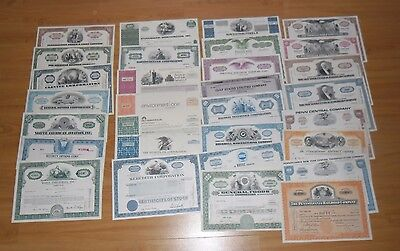 Collection of 30 All Different Authentic Stock Certificates LOT B