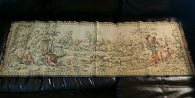 Antique Vintage Tapestry Couples Garden Victorian Scene Look!