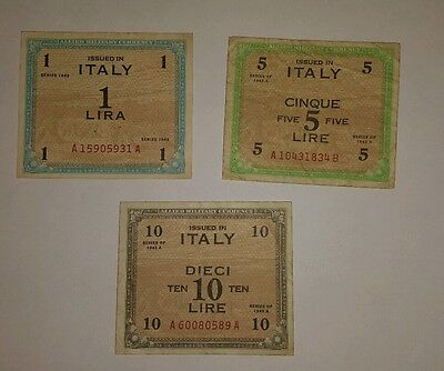 1943 Italy Allied Military Currency 1,5,10 Banknote Set