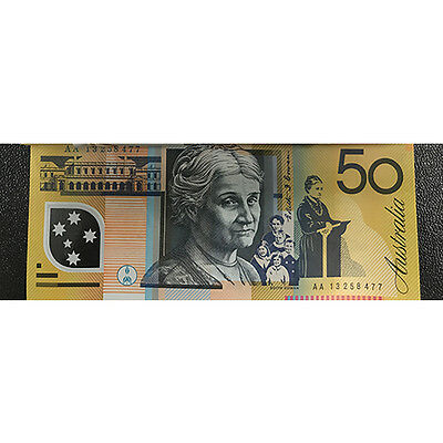 2013 $50 Notes First Prefix AA Single Serial Number Ex RBA UNC (1 x $50 Notes)