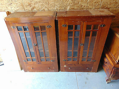 2 vintage antique pantry ? dining room half wall area cabinets
