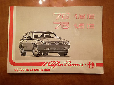 Alfa Romeo 75 1.6 IE, 1.8 IE Owners Manual(France)