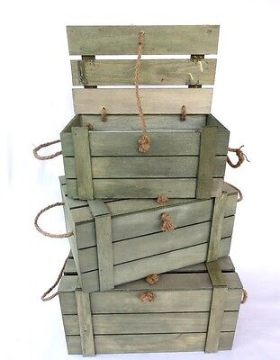 Set 3 of Rustic Wooden Nested Timber Crate Storage Box With Rope Handle
