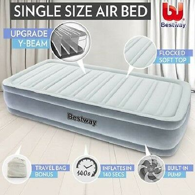 NEW Indoor Outdoor Built-In Electric Air Pump Single Inflatable Mattress Bed