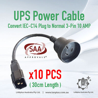10x 30cm UPS Power Cord Extension Lead Cable IEC Male to 3-Pin AU Female Socket