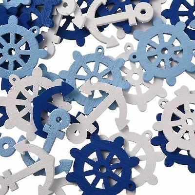 50pcs  Accessory Wheel Anchors Scrapbook Craft Wooden Button Sea Steering