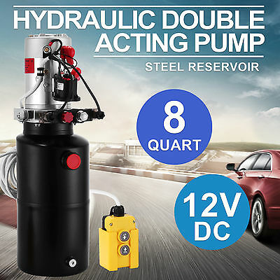 12V DC Hydraulic Single Acting Pump 8L Dump Trailer Power Pack 3200PSI Electric
