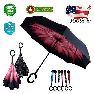 New Inverted folding Umbrella Double Layer Windproof Anti UV Protection C-Handle