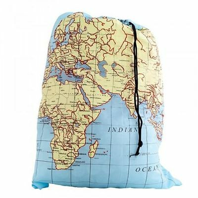 40x54cm World Map Travel Dirty Laundry Bag Clothes Keeper Traveller Backpacking