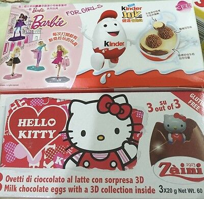 two packs Disney surprise eggs Hello kitty kinder girl barbie 6 eggs