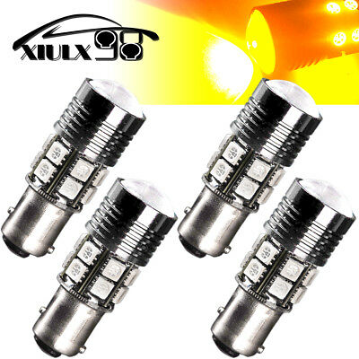 4X 1157 7W 12SMD High Power Chip LED Amber Yellow Front Turn Signal Light Bulbs
