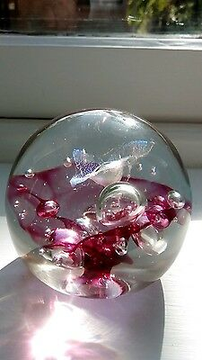 Signed mouth-blown art glass paperweight. FREE POST