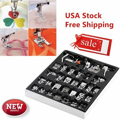 32pcs Domestic Sewing Machine Presser Foot Feet Set for Brother Janome Singer HL