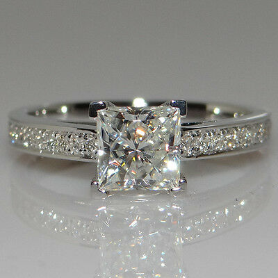 Handmade Princess Cut 1ct Engagement CZ 925 Silver Women Wedding Band Ring Sz4-9