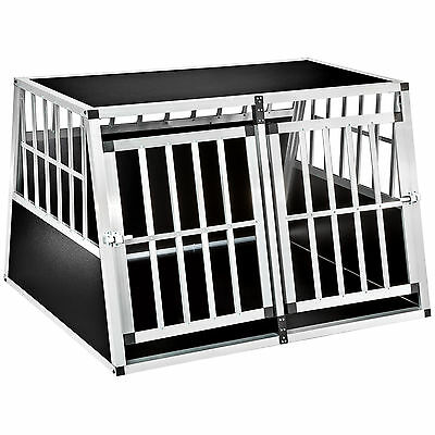XXL Double dog cage trapezoidal aluminium wood transport car travel carrier box
